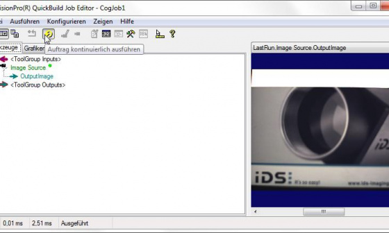 Acquire images in Cognex VisionPro QuickBuild from an uEye