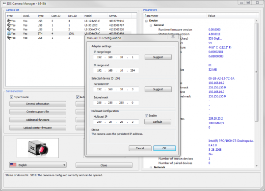 IDS Software Suite for industrial cameras: IDS Camera manager - manual ETH configuration