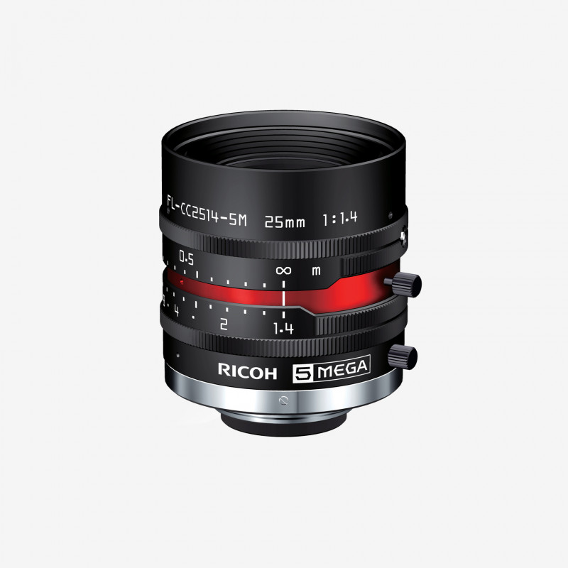 "Lens, RICOH, FL-CC2514-5M, 25 mm, 2/3"" C-Mount. 2/3"". 25 mm. Ricoh. AE00024"